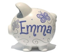 """Butterflies Personalized Piggy Bank Ceramic - Custom Hand-painted - Large Size: 8"""" x 7.5"""" x 7"""""""
