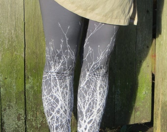 Printed leggings / Leggings with a Tree Branches Graphic Design /Dark Grey Stretchy Leggings / Woman Low Waist Leggings