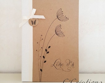 Guestbook wedding} {Rustic brown and white paper, ivory satin