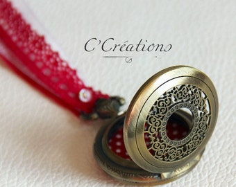 Ring pillow,  pocket watch for wedding,red cotton