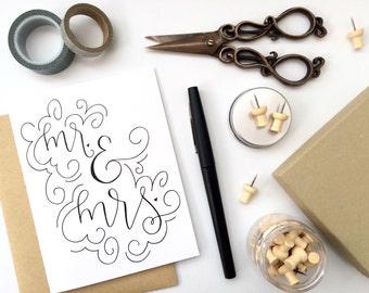 Card - Mr. & Mrs. | Wedding Card, Wedding Shower, Bridal Shower, Bachelorette