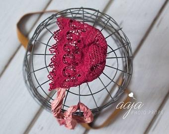 red baby newborn girl lace bonnet, cotton lace, Beautiful hat Photo prop RTS