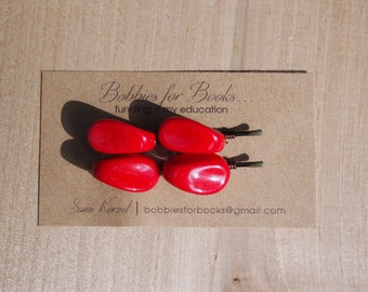 Vintage Red Beaded Bobby Pins