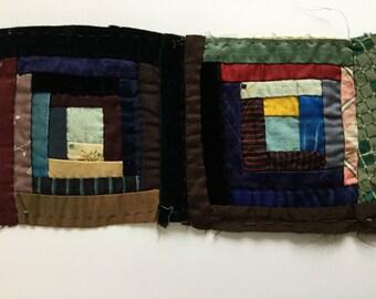 Antique pair of quilt squares primitive