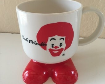 Ronald McDonald McDonald's McDonalds Footed Plastic Mug Cup