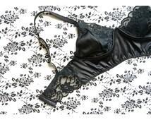 "Black lace lingerie, bralette ""Insomnia"" no wire, longline bra, black satin, Montreal designer"