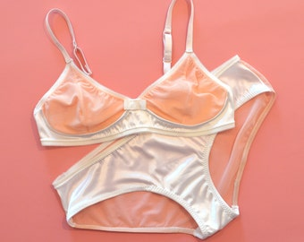 "Bra and knickers, women lingerie ""Pamplemousse"" bralette, wire free, mid-low waisted panties, coral mesh, ivory satin, see-through"