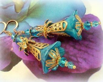 Hand Colored Filigree Dangles, Hand Enameled Earrings, Plique a Jour Earrings, Aqua Teal Earrings, Hand Painted Earrings, Victorian, Boho #7