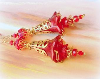 Lucite Earrings, Flower Earrings, Victorian Earrings, Hand Painted Earrings, Red Earrings, Red Dangles, Flower Earrings, Boho Earrings, Boho