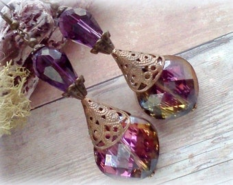 Handmade Earrings, Crystal Earrings, Purple Earrings, Color Change Earrings, Filigree Dangles, Reversible Earrings, Victorian Earrings