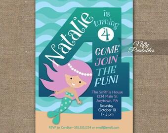 Meerjungfrau Einladungen Einladung   4. Geburtstag   Mädchen 4. Geburtstag  Party Einladungen   Druckbare