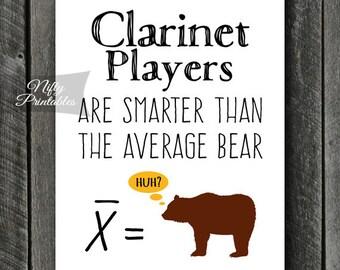 Clarinet Art - INSTANT DOWNLOAD Funny Clarinet Print - Clarinet Poster - Clarinet Wall Art - Clarinet Gifts - Bear Clarinet Decor Music Math