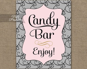 Candy Bar Sign - Black Pink Candy Buffet Sign - Printable Lace Candy Table Signs - Wedding or Shower Candy Sign - Lingerie Shower Sign BCL