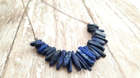 Lapis Lazuli Necklace / Blue Gemstone Necklace / Primitive Necklace / Boho / Statement Necklace / Oxidized Sterling Silver Dainty Chain