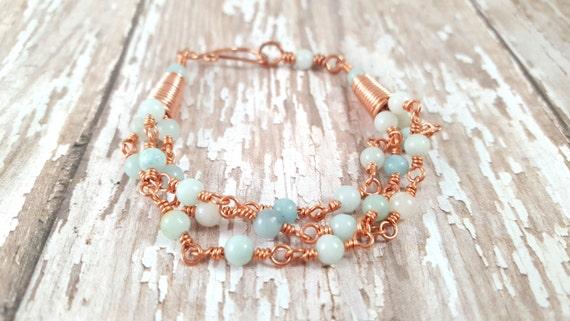 Amazonite Bracelet - Multi Strand Bracelet - Copper Wire Wrapped Bracelet - Milky Blue - Gypsy - Natural Stone - Bohemian - Light Blue