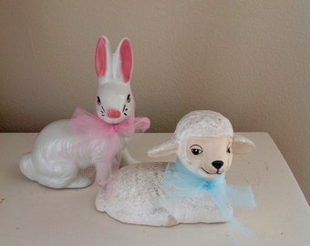 Easter Decor, Vintage Ceramic Bunny and lamb, you get both