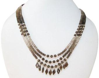 Smoky Quartz beads necklace with Silver beads,Smoky Quartz beads,Quartz necklace,mala beads,gemstone jewellery,Gift Ideas,Beaded jewellery