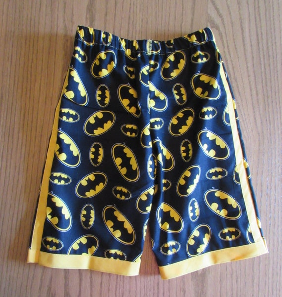 Batman forever shorts / cotton /  yellow edge / elastic waste / back pocket
