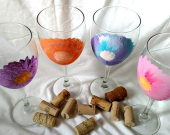 Set of 4 hand painted flower wine glasses. Wine glasses. Set. Colorful. Flowers. Candle holder. Summertime. Springtime. Gift.