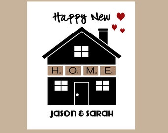 New Home Card, Housewarming Card, Personalized Card, Happy New Home Card