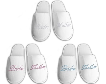 Brides Mother Personalised wedding Slippers, Bridal party gifts, Spa Slippers, Personalized bridal slippers, Bridesmaid Gifts, hen slippers