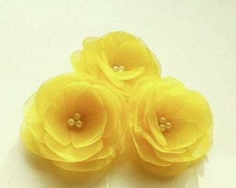 Yellow Hair Flowers Yellow Hair Clips Yellow Bridal Hair Clips Yellow Boutonniere Lemon Yellow Hair Pins Yellow Hair Pins Yellow Lapel Pin