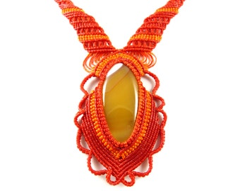 Red Agate Macrame Collier Choker Necklace Thailand Tribal Surfer Boho Gypsy Asian Adjustable