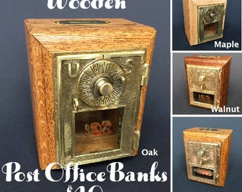 Vintage Bank Oak Post Office Box
