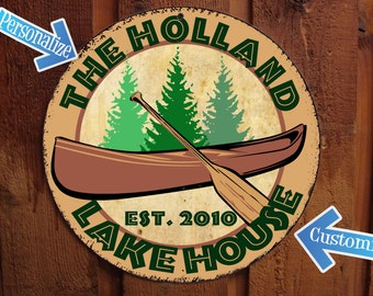 Vintage Lake House Sign with Canoe - Personalized
