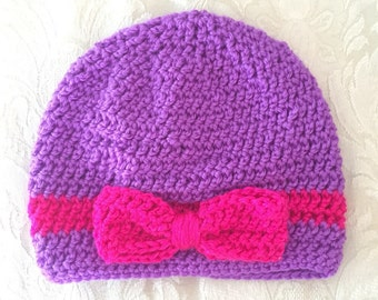 Crochet bow hat, bow hat, crochet hat, baby crochet hat, adult bow hat, purple and pink hat