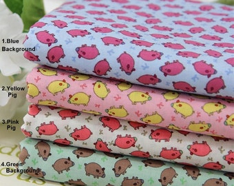 Cotton Fabric Pig in 4 Colors By The Yard