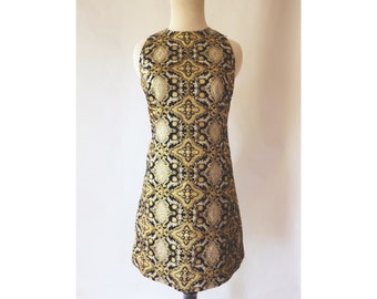 Vintage 60s Mod Mini Dress, Black Silver Gold,