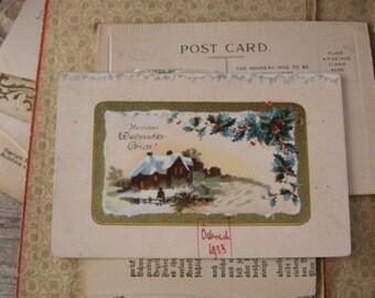 Christmas card -1923, vintage, retro, card, brocante, antiques, letter