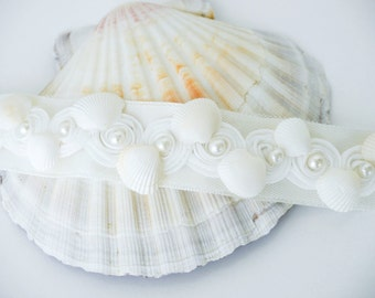 Shell Bridal Sash, Beach Wedding Sash, Bridal Sash, Ivory Belt, Sea Wedding, Wedding Dress, Beach Bridal Sash, Seashell sash