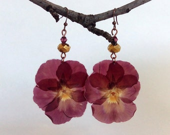 Real Flower Jewelry - Pansy Earrings - Pressed Flower - Botanical Jewelry - Real Flower Earrings - Nature Jewelry