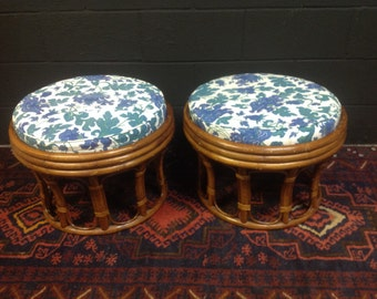 Vintage Bamboo Ottomans