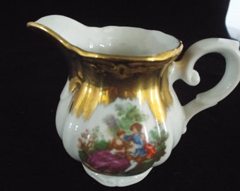 Porcelaine Lavorato a Mano in Italy  Off White and Gold Vintage Creamer, Elegant