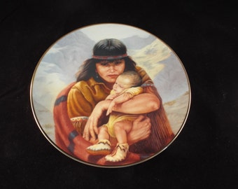 """Feelings By Perillio Collector's Plate   9.25"""", Collector's Plate, Vintage Mother's Love Series, Native Americans"""