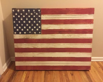Rustic American Flag with Hidden Storage