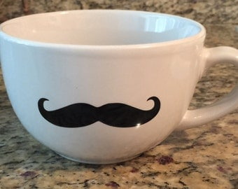 22 oz white mug with black mustache