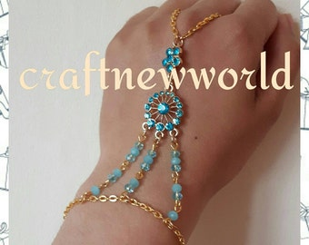 Turquoise crystals gold hand chain, Boho slave chain.