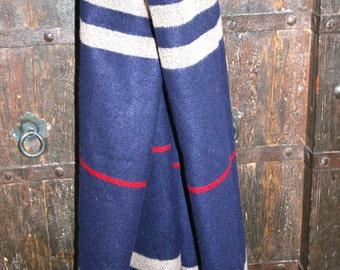 Scarf Wool Blanket Wrap Navy Tan with Red Stripe Extra Large Soft Warm