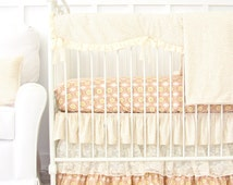 Vanessa's Vintage Floral Ruffled Bumperless Baby Bedding| 2 or 3 Pc Crib Set in Vintage Pink & Cream Lace