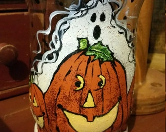 Halloween hurricane candle holder