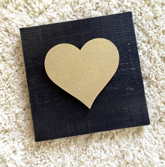 Wooden Heart - Heart Wood Sign -Gold Glitter Heart Wooden Sign - Valentines Decor