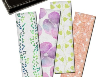 Watercolor floral Bookmarks, Set of 4 digital printable bookmarks, Back to school, Book lovers gift, Digital collage sheet, Instant download
