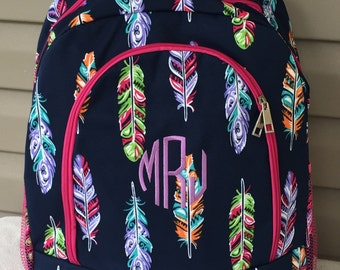 Personalized Navy Hot Pink & Multi Feather Backpack * Bookbag with Monogram or Name * Custom Monogrammed Book bag * Embroidered Gift