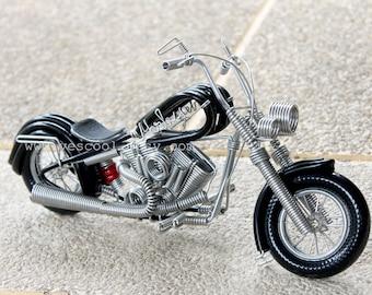 Handmade HARLEY DAVIDSON Aluminium Wire Art Sculpture Motorcycle Model Black