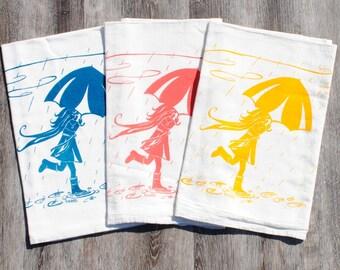 Flour Sack Tea Towel Set of 3 - Screen Printed Cotton - Girl with Umbrella Tea Towels - Kitchen Towels Gift Set - Wedding Gift