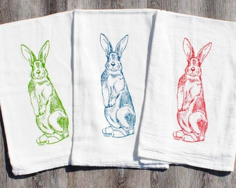 Rabbit Hand Tea Towels - Set of 3 - Screen Printed Cotton - Rabbit Tea Towel Design - Wedding Shower Gifts  - Woodland Kitchen Theme